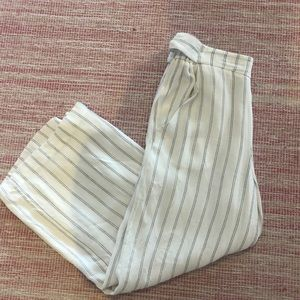 Wilfred white flowy pants with navy lines